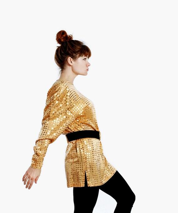 Gold SEQUIN Top - Oversized Shirt - SILK Blouse Slouch Top - Batwing Long Sleeve Shirt - DEADSTOCK - Dana Buchman - Vintage 80s
