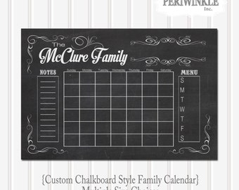 chalkboard calendar printable fully cutomizable mulitple sizes available