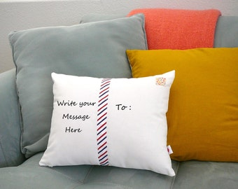 Personalize a Postcard Pillow - Custom Pillow - in YOUR Writing - Father's Day Gift