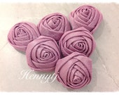 New to the Shop: Set of 6 - 25mm Adorable PETITE Rolled Stain Rose Tulle Rosettes Fabric flowers - MAGENTA Purple