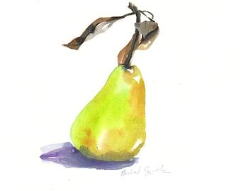 Original Watercolor, Pear Art, Pear with Leaves