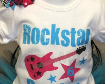 Rockstar Birthday Number Shirt or bodysuit and matching Bow, girls birthday shirt, Rockstar birthday shirt, girls Rockstar birthday shirt