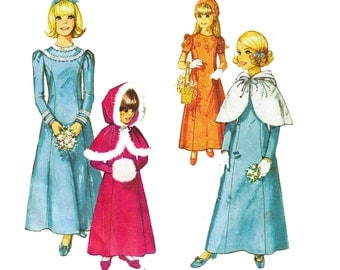 70s Girls Dress & Hooded Cape Pattern Simplicity 9144 Frozen Anna Costume Sewing Pattern Flower Girl Size 4 BONUS Size 6 Cape included