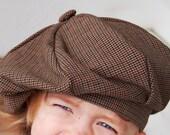 Brown Houndstooth Beret, Dandy Hat For Kids