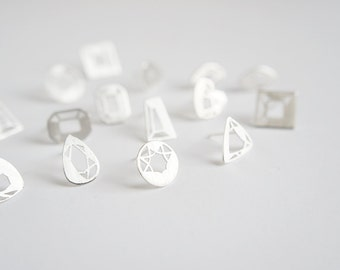 Mini Gem Studs - 199 Carat Series - Sterling Silver - Hand Cut Facets - Pear, Heart, Brilliant, Emerald, etc.
