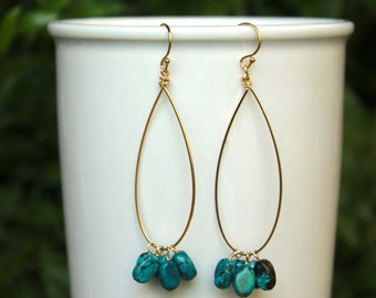 Genuine Turquoise Hoop Earrings, Gold Filled, Sterling Silver, Turquoise Hoops, Lightweight Teardrop Hoops, Gemstone Hoops Turquoise Earring
