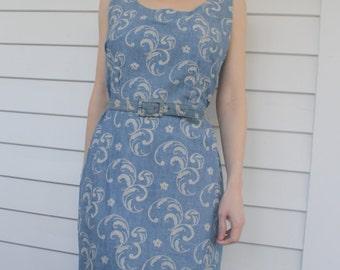 Vintage Blue Print Dress 60s Sleeveless Chic Chambray S M