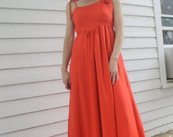 70s Orange Maxi Dress Joseph Magnin 1970s Vintage Empire Formal XS