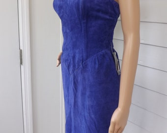 Purple Mini Dress Strapless Suede Leather NOS Perspective Vintage XS