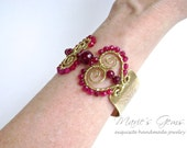 Heart Bracelet, Ruby Agate Bangle, Brass Cuff, Wire Wrapped, Scroll, Swirl 825