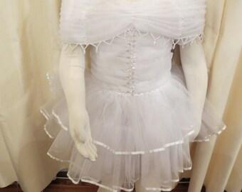 Vintage Girl's White Fancy Wedding Flower Girl Christening Dress