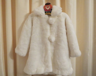 Vintage Ivory Girl's Faux Fur Coat With Bon Bon Buttons