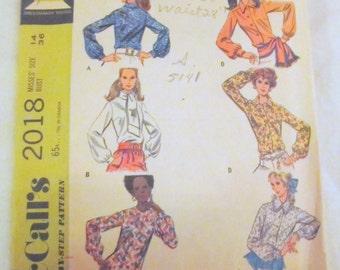 vintage MISSES BLOUSE SET --  McCalls 2018 (1969) --  Size 14