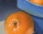 3x3 Mini Painting, Small Acrylic Painting on Canvas, Still Life for Home Decor Orange and Blue