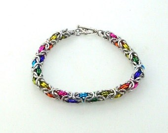 Chainmaille Jewellery, Byzantine Bracelet, Rainbow with Silver