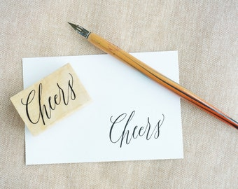 Cheers Hand-Drawn Calligraphy Rubber Stamp
