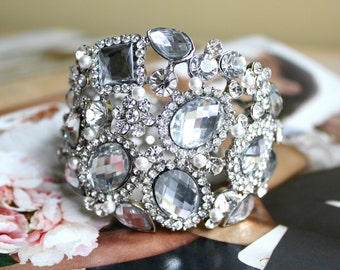Bridal Bracelet, Wedding Bracelet, Pearl Vintage Style Rhinestone Bracelet, Hinged Bangle Bracelet, Wedding Jewelry, Bridal Accessories