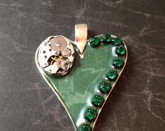 Steampunk Heart with Watch Movement and Crystals