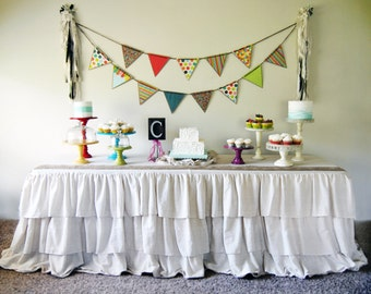 Rustic Ruffled Tablecloth 3 tier design, multiple sizes available
