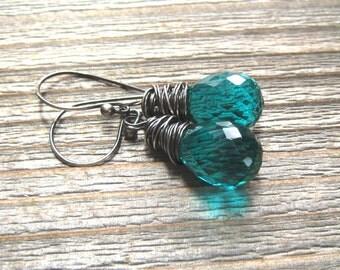 Dark Teal Earrings,  Paraiba Quartz Dangle Earrings,  Tear Drop Briolette,  Sterling Silver , Teal Stone Paraiba Jewelry