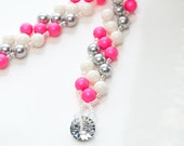 neon pink stripe . swarovski pearl bracelet . summer . neon . bracelet . gift idea