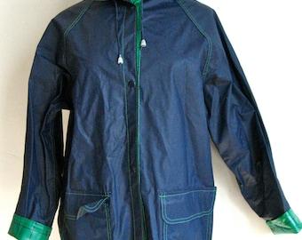 Vintage Blue The Weather Co. PVC Rainjacket // 1980s