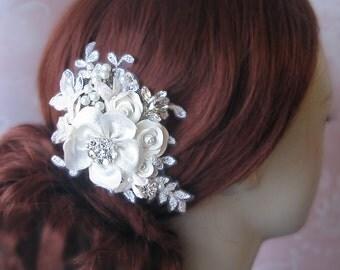 Ivory Hair Flower, Bridal Fascinator, Rhinestone and Pearl Hair Clip, Headpiece - VIVIENNE