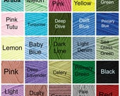 Yarn Color Options for Regular Weight (Non- chunky) Knit items.CHOICE of over 50 COLORS