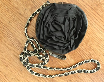 Black Rose Handbag with Long chain Vintage Chinese Laundry Black Purse Evening bag