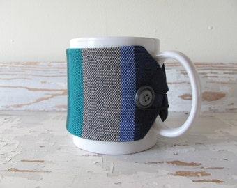 Hot Coffee Mug Cozy, Large Cup Sleeve, Nautical Ocean Blue Sea Green Tea Mug Wrap, Coastal Beach Decor Java Jacket, Foodie Gourmet Chef Gift