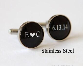 Grooms Gift from bride, Wedding Cufflinks Custom Wedding Date Initials Color,  Personalized Cufflinks,Groom Cuff Links