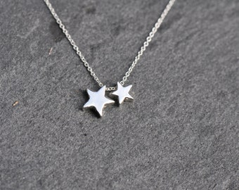 Stars Necklace - Sterling Silver chain with two STERLING SILVER silver star charms