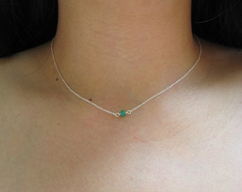 Emerald necklace on delicate sterling silver chain, bridesmaid necklace, may birthstone necklace, minimalist jewelry, layering necklace