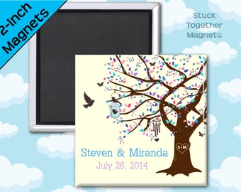 Summer Wedding Favor Magnets - Oak Tree in Blues and Purples - 2 Inch Squares - Set of 10 Magnets