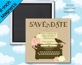 Vintage Wedding Save the Date Magnets - Typewriter - 2 Inch Squares - Set of 10 Magnets