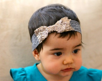 Bow sequin and lace  headband