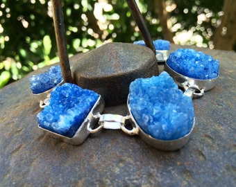 Sale Blue druzy Bracelet. One of a kind jewelry. Silver bracelet.Gemstone jewelry