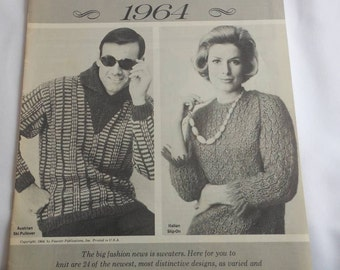 For Vintage Knitting Enthusiasts, 1964 Knitting Patterns for Men and Women, Hand Knits or Pages to Frame