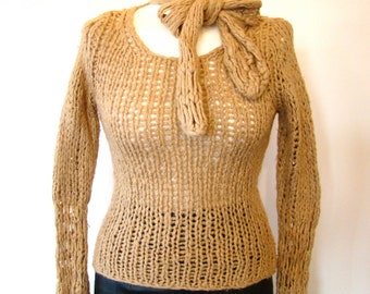 Vintage 70s / Knit / Taupe / Camel Hair / Ascot Bow Tie  / Sweater / EXTRA SMALL