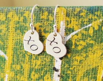Dainty Sterling Silver XO Earrings, Silver Hugs and Kisses Earrings, Handstamped XO Earrings,  Silver Love Earrings, Valentine's Day Gift
