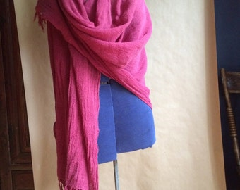 LOVE SALE / vintage 1990's handloomed cotton scarf wrap made in Bali Indonesia