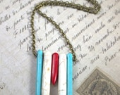 Tribal, Boho, Indian, Southwestern, Rodeo, Cowgirl/Cowboy - Red, White & Turquoise, Howlite Spike Necklace