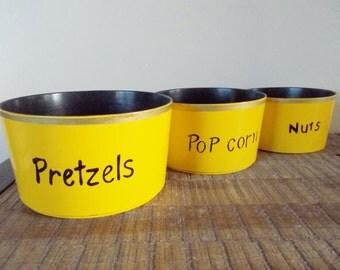 Set of Three Vintage Yellow Melamine Nesting Snack Bowls
