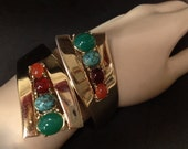 Retro Chrome Hinged Bypass Bracelet with Cabochons