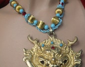 Asian Influence Vintage Demon Pendant with Newly Constructed Chain