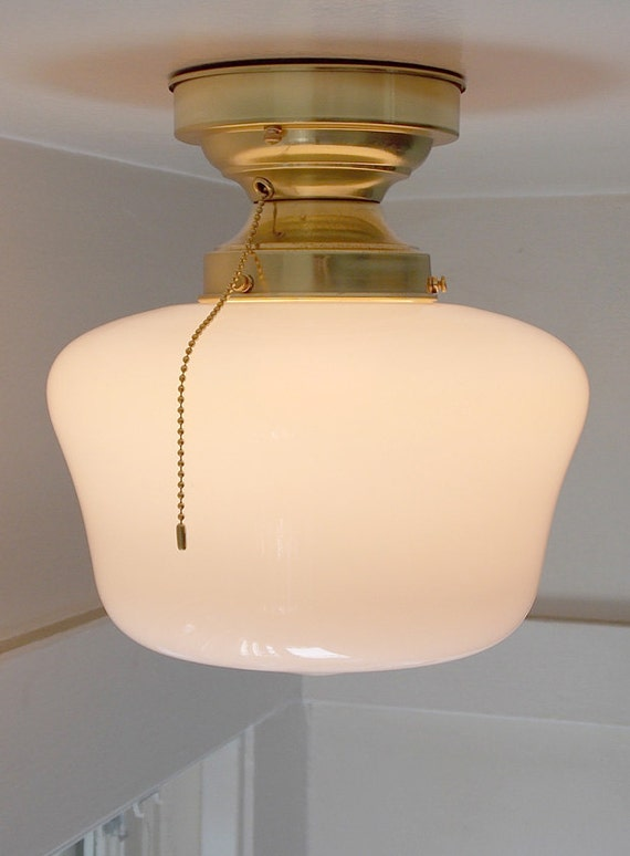 antique schoolhouse ceiling light with pull chain. Black Bedroom Furniture Sets. Home Design Ideas