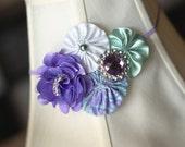 Vintage Shabby Chic Marvelous Mint and Pastel Violet Purple Paisley hand sewn yoyo flower rosette skinny headband/Photo prop