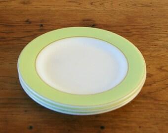 Set of 3 Vintage Pyrex Lime and Gold Dessert Plates