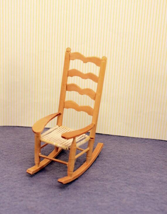 Miniature Ladder Back Rocking Chair Dollhouse Furniture