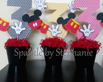 Mickey Mouse Centerpiece l Customized Age l Mickey Clubhouse l First Birthday l Personalized Age l Mickey Party l Mickey Decorations
